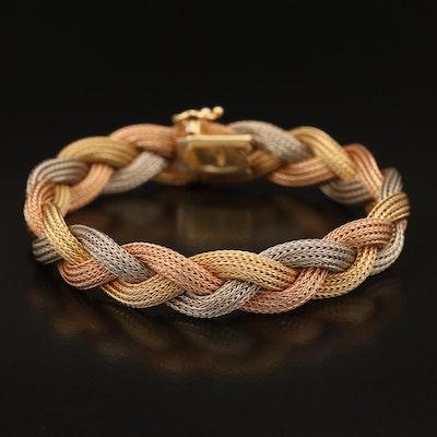 14K Tri-Color Gold Braided Bracelet Including Rose Gold