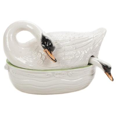 Italian Glazed Ceramic Swan Tureen with Ladle