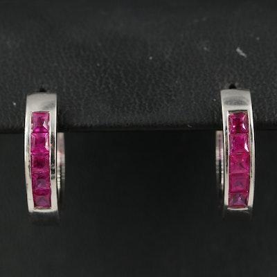14K Channel Set Ruby Hoop Earrings