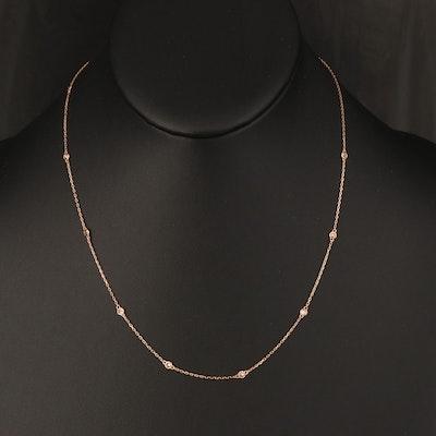 18K Rose Gold 0.30 CTW Diamond Station Necklace