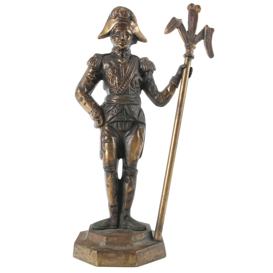 Gilt Cast Iron Napoleonic War Figural Doorstop, Early 20th Century