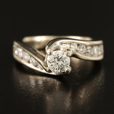 14K 0.36 CT Diamond Bypass Ring with 0.39 CTW Diamond Channel Set Shoulders