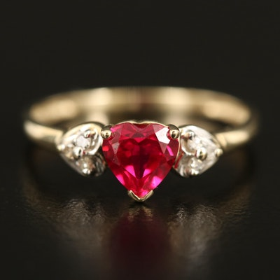 10K Cubic Zirconia and Diamond Heart Ring