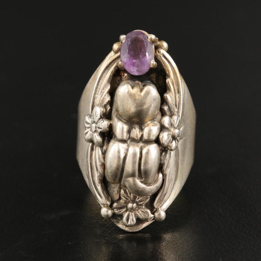 Carol Felley Sterling Amethyst Feline Figural Ring