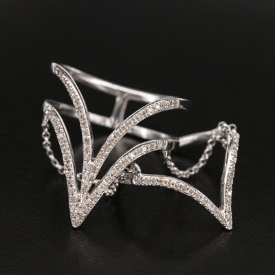 14K 0.30 CTW Diamond Double Chain Chevron Ring