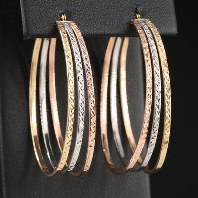 14K Tri-Color Gold Triple Hoop Earrings with Diamond Cut Finish