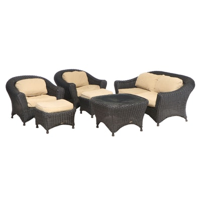 Martha Stewart Black Resin Wicker Patio Seating and Coffee Table with Glass