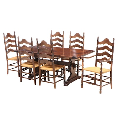 """Ethan Allen """"Old Tavern"""" American Colonial Style Seven-Piece Dining Set"""