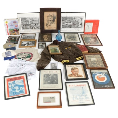 Charles Lindbergh Collection, Including News Clippings & Commemorative Clothing
