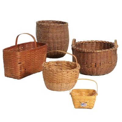 Five Hand-Woven Baskets Including Longaberger, Mid to Late 20th Century