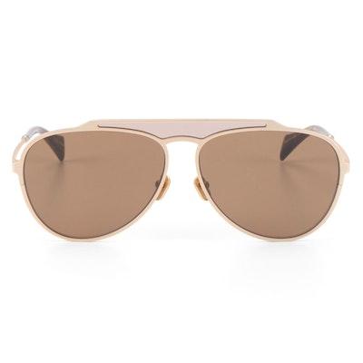 Yohji Yamamoto YY7039 Matte Gold Tone Sunglasses with Case