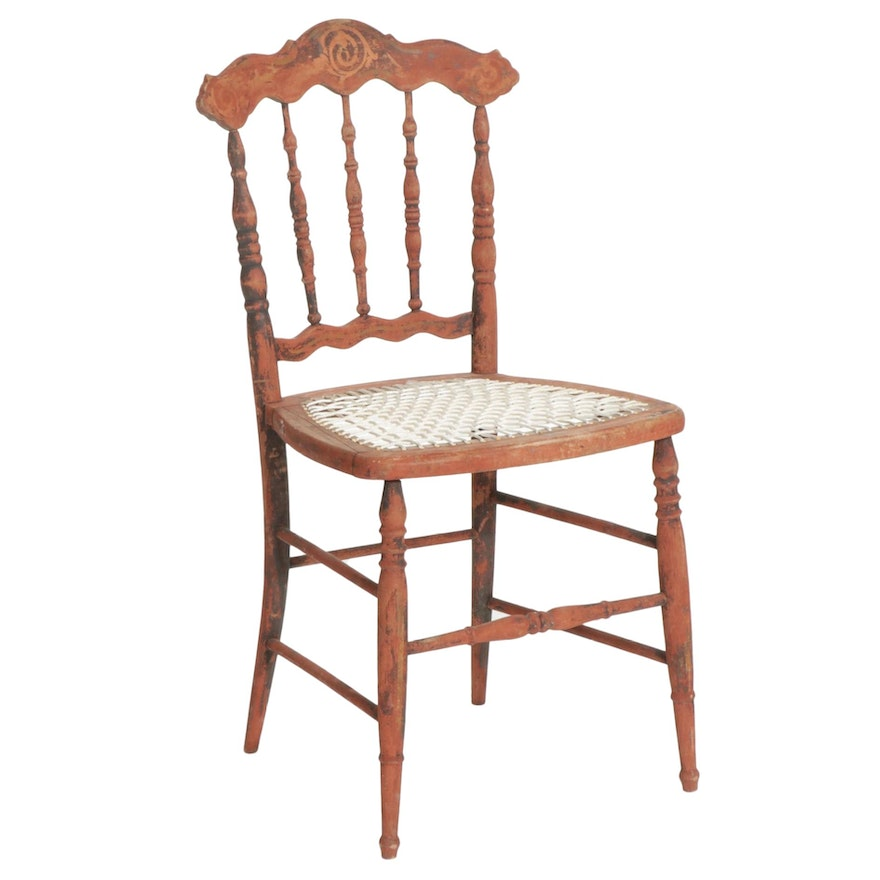 Paint-Decorated Wood Spindle-Back Chair with Rope Seat