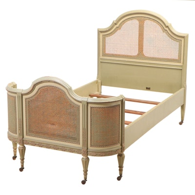 Louis XVI Style Painted Twin Bed Frame with Cane Panels