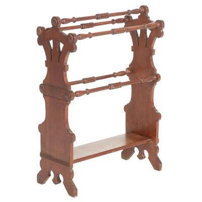 Victorian Style Turned Walnut Quilt Rack, Early to Mid 20th Century