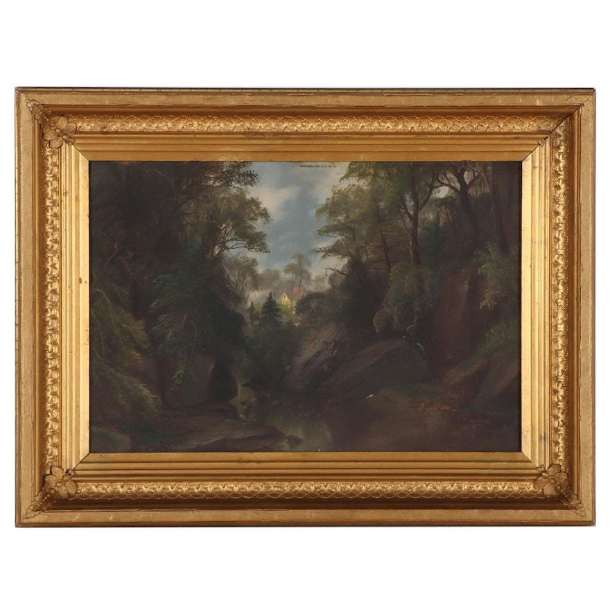 Daniel Charles Grose Landscape Oil Painting of Dense Forest, Late 19th Century
