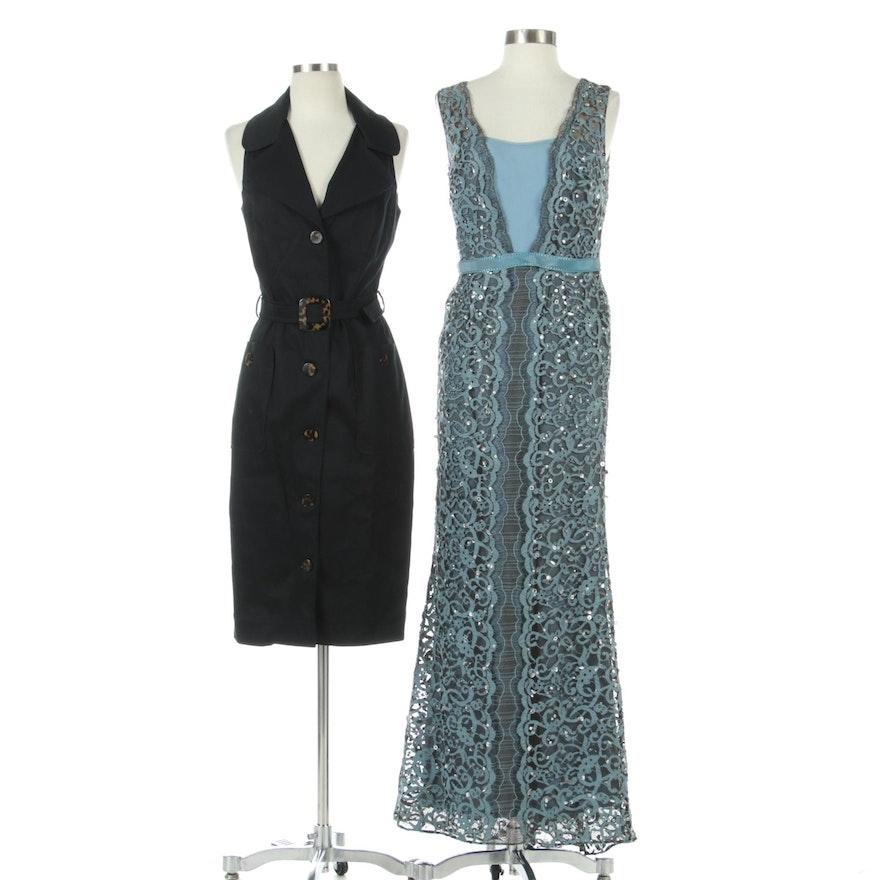 Carolina Herrera New York Lace Sleeveless Evening Dress and Belted Dress