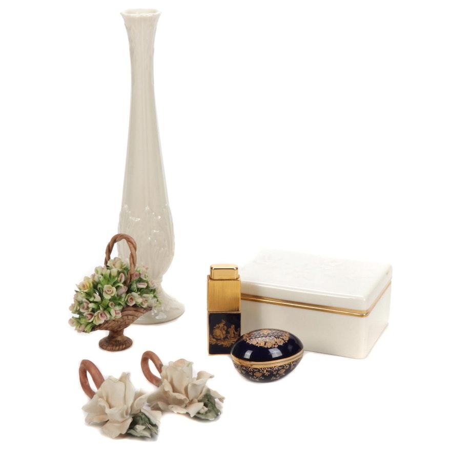 Lenox Porcelain Vase, Castel Limoges Box and Capodimonte Flowers