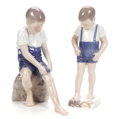 """Bing & Grøndahl """"Boy With Crab"""" and """"Padding About"""" Porcelain Figurines"""