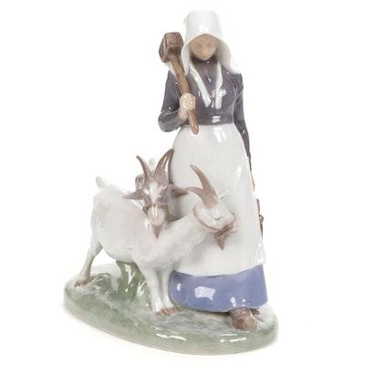 "Royal Copenhagen ""Girl With Goats"" Porcelain Figurine"
