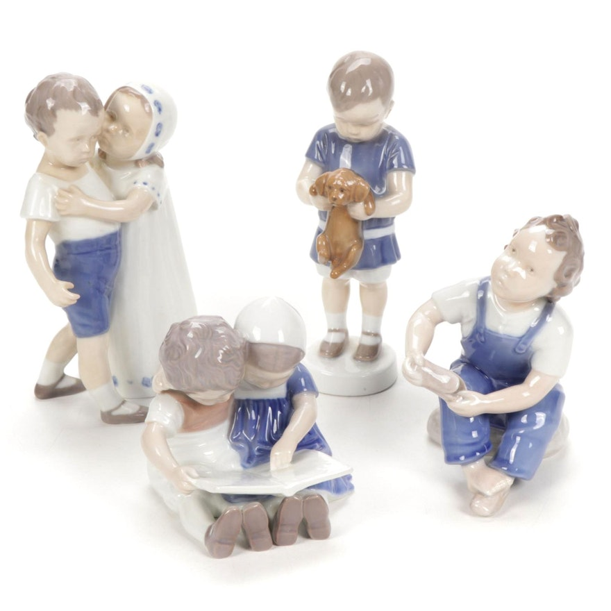 "Bing & Grøndahl ""Children Reading"", ""Love Refused"" and Other Porcelain Figurines"