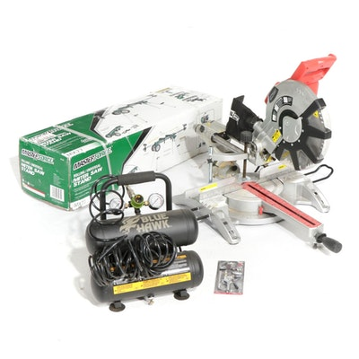 "Tool Shop 12"" Miter Saw and Blue Hawk Compressor"