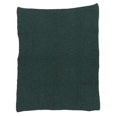 L.L. Bean Green Cable Knit Wool Blanket