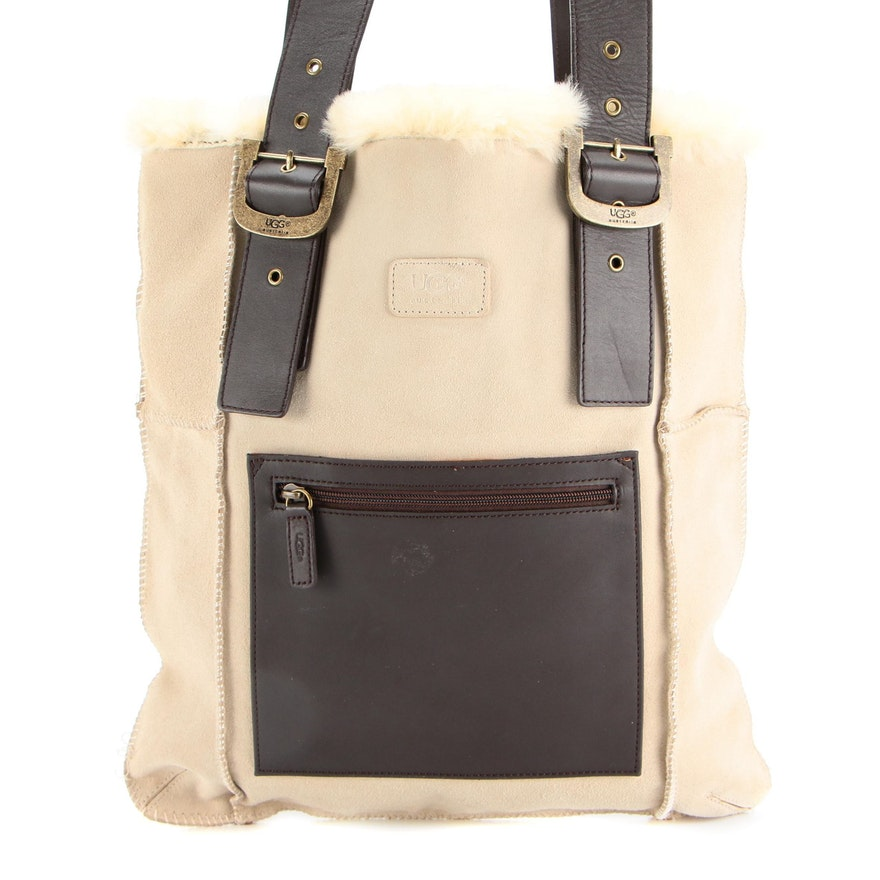 UGG Magazine Tote in Suede and Leather with Shearling Trim