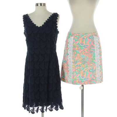 Lilly Pulitzer Sailboat Eyelet Sleeveless Dress with Printed and Lace Skirt