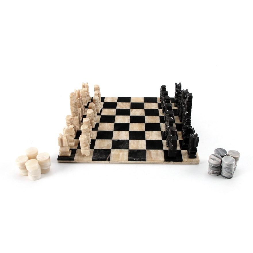 Puebla Style Carved Marble and Black Onyx Chess and Checkers Set