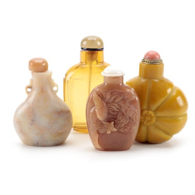 Carved Quartzite, Calcite, Marble and Glass Snuff Bottles
