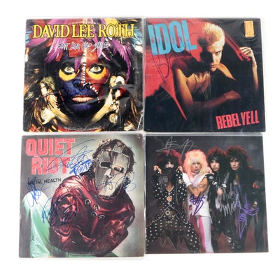 Mötley Crüe, David Lee Roth, Quiet Riot, Billy Idol Signed Vinyl LP Records