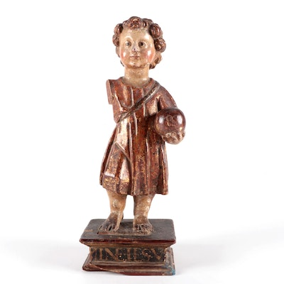 Hand-Carved Polychrome Wood Sculpture of The Christ Child, 18th or 19th Century