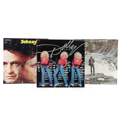 Johnny Cash, Dolly Parton, John Denver Signed Vinyl LP Records Albums