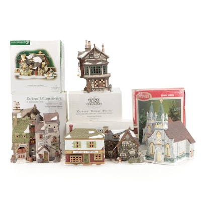 """Department 56 """"Dickens' Village"""" Porcelain Lighted Buildings and More"""