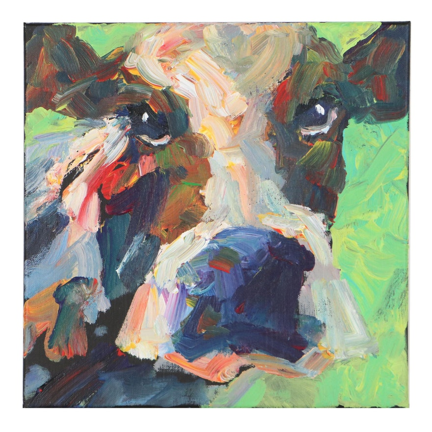 Elle Raines Cow Portrait Acrylic Painting