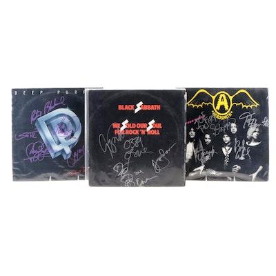 Aerosmith, Black Sabbath, Deep Purple Signed Vinyl LP Record Albums