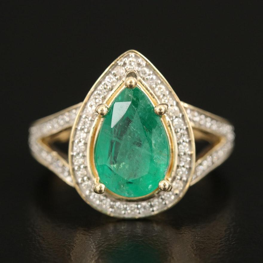 14K 2.60 CT Emerald and Diamond Teardrop Ring with Split Shoulders