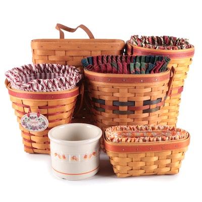 Longaberger Handwoven Wood Slat Baskets and Candy Corn Motif Pottery Bowl