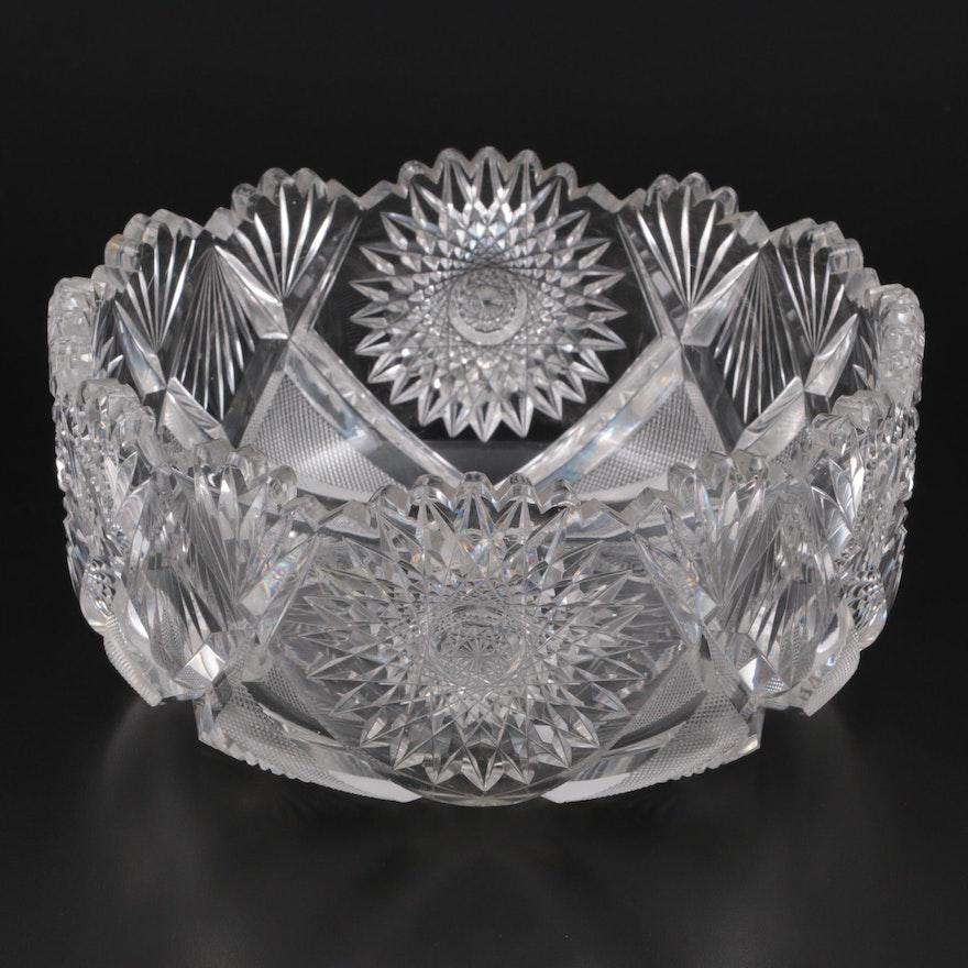 American Brilliant Style Cut Glass Hobstar Bowl