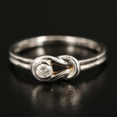14K 0.05 CT Diamond Love Knot Ring