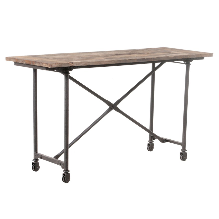 Industrial Style Patinated Metal and Plank Top Console Table