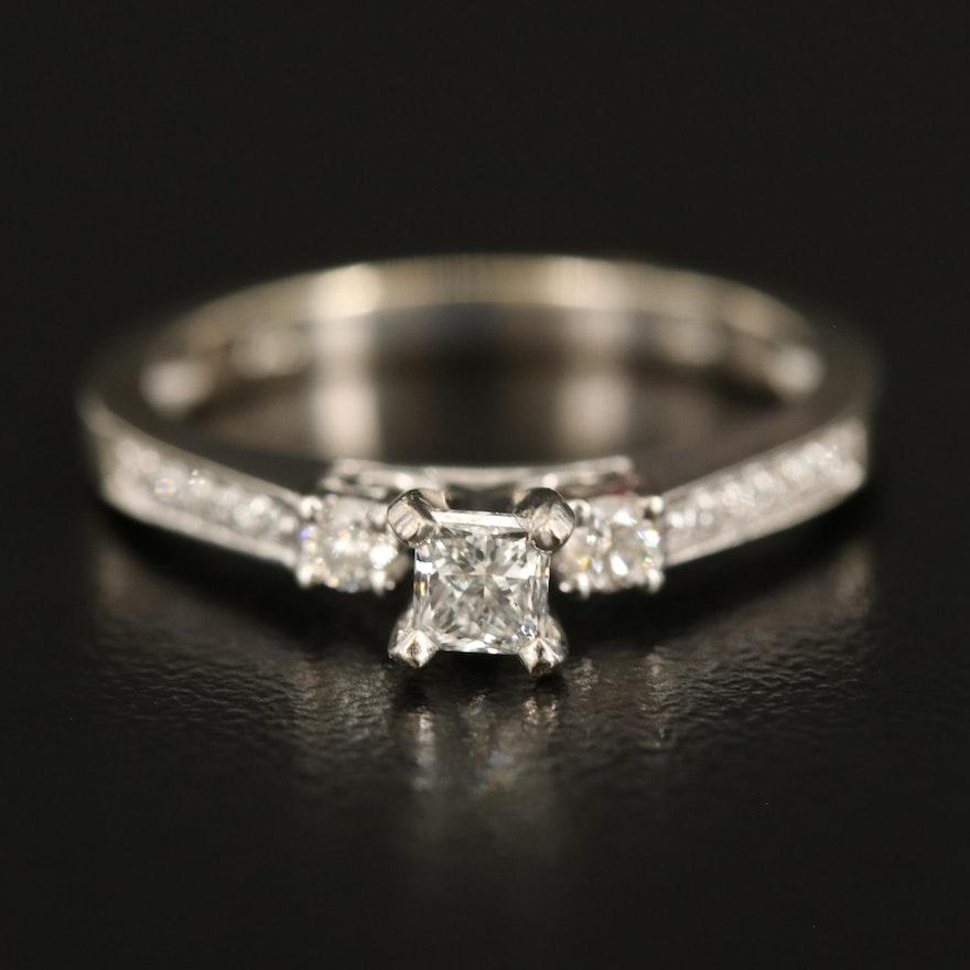 14K Diamond Ring with Diamond Shoulders