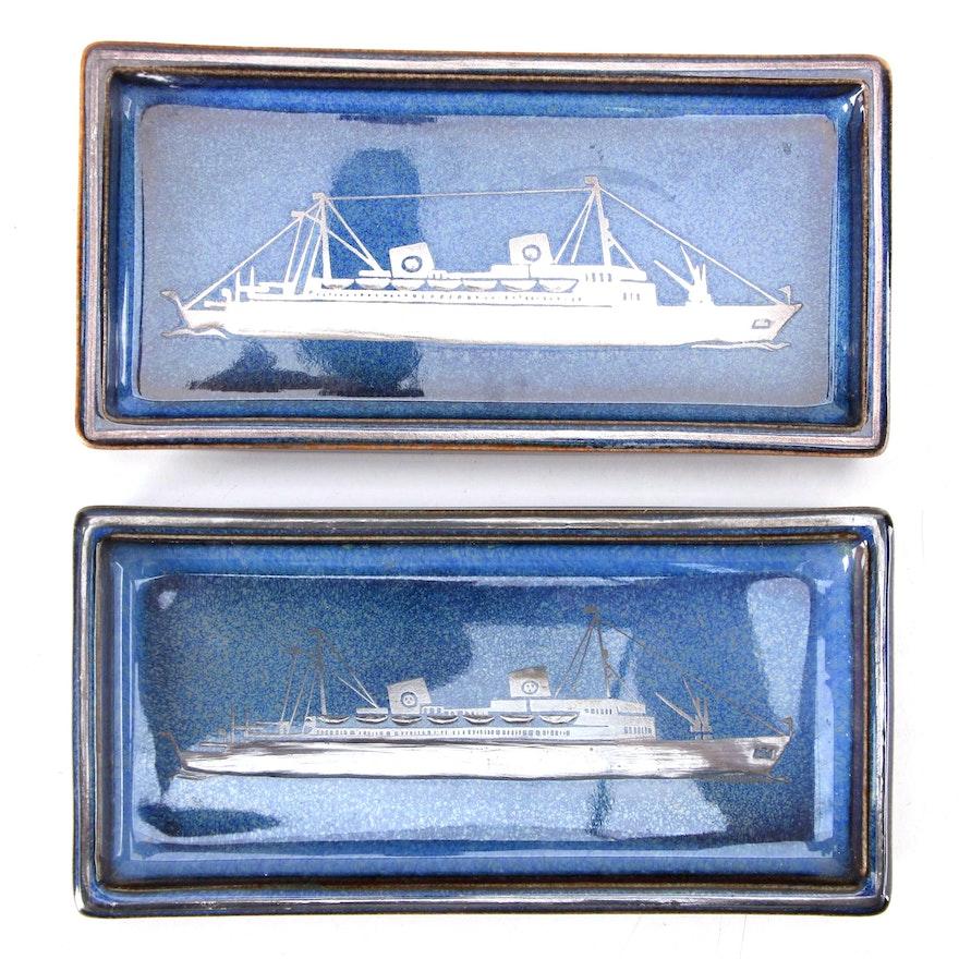"Sven Jonson for Gustavsberg ""Lagun"" Silver Overlaid Stoneware Pin Dishes"