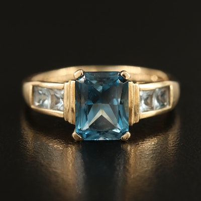 14K 4.00 CTW Topaz Ring with Channel Set Shoulders