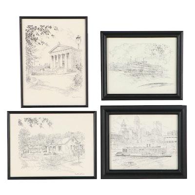 Lithographs After Caroline Williams of Cincinnati Landmarks