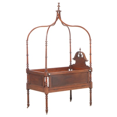 American Renaissance Revival Walnut Canopy Youth Bed, Third Quarter 19th Century