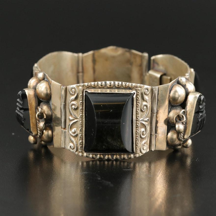 Mexican Sterling Sheen Obsidian Panel Bracelet