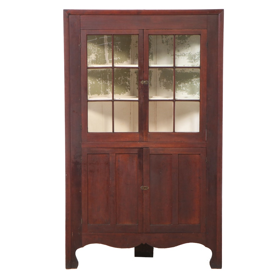 American Primitive Cherrywood Corner Cupboard, Early to Mid 19th Century