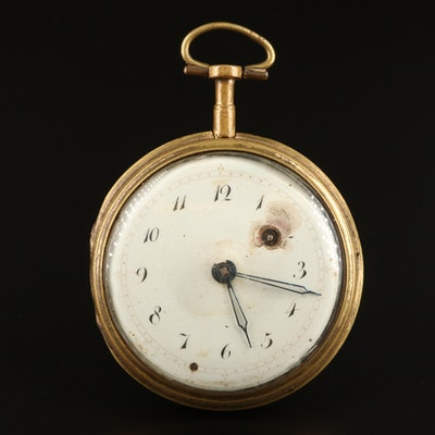 Antique Key Wind and Set Enamelled Pocket Watch
