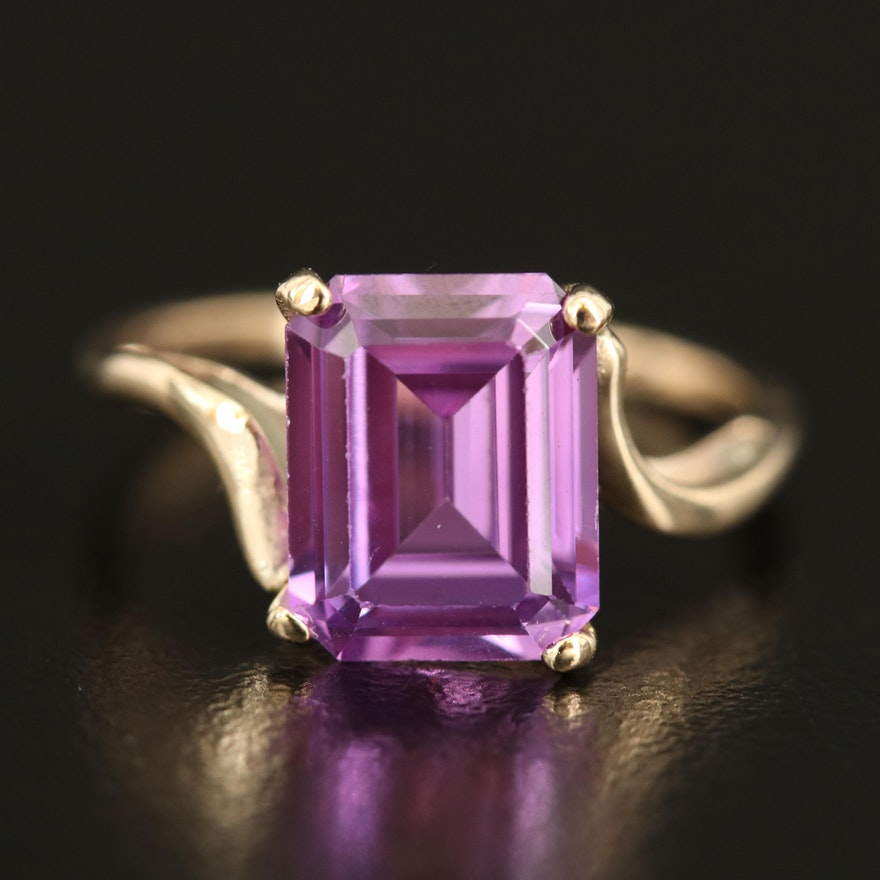 10K 4.00 CT Amethyst Solitaire Ring